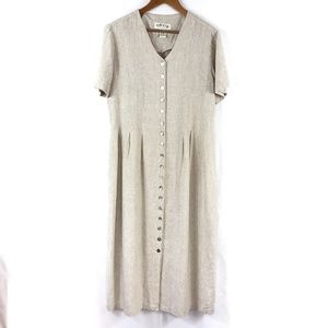 ORVIS Linen Blend Button Front Summer Dress